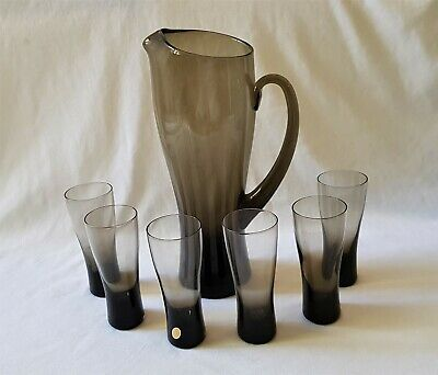 Lovely Vintage C1970'S Smokey Glass Water Set - Heavy Jug & 6 Matching Glasses