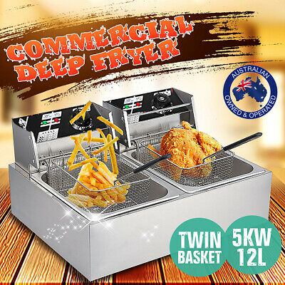 Deep Fryer Twin Frying Chef Electric Commercial Basket Chip Cooker 5000W AU