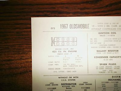 1967 Oldsmobile Series Models 425 CI V8 2BBL SUN Tune Up Chart Great Condition!