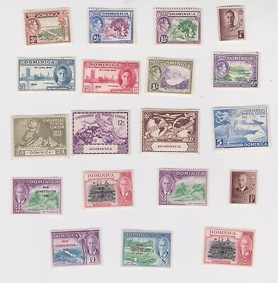 Dominica-1938 A selection of mounted mint King George VI postage stamps