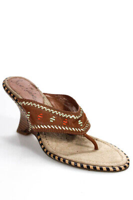 9cca55aa04ac Sam Edelman Womens Wedge Sandals Size 8 Brown Leather Embroidery Slide On