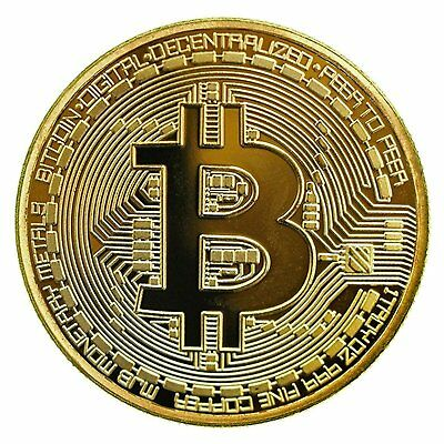 Gold Bitcoin Commemorative Round Collectors Coins Bit Coin with Protective Case