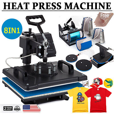 8in1 Heat Press Transfer Digital Machine Sublimation For T-shirt Mug Plate Cap