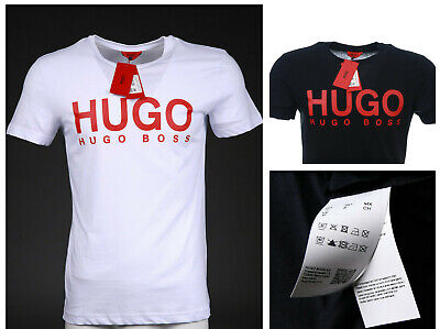 2f60d972a HUGO BOSS T Shirt Mens Navy White Blue Black Red Label Cotton Genuine Brand  New