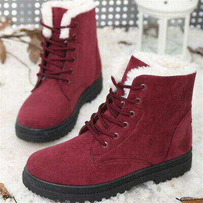 AU Women Winter Flats Fur Lined Warm Snow Ankle Boots Round Toe Lace Up Shoes