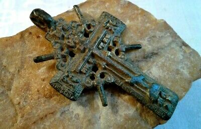 "RARE LARGE 18-19th CENTURY ORTHODOX ""OLD BELIEVERS"" ORNATE ""SUN"" CROSS PSALM 68"