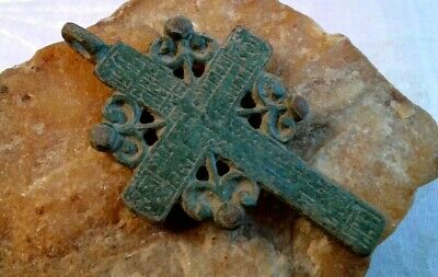 "UNIQUE LARGE 18-19th CENTURY ORTHODOX ""OLD BELIEVERS"" ORNATE PRAYER ""SUN"" CROSS"