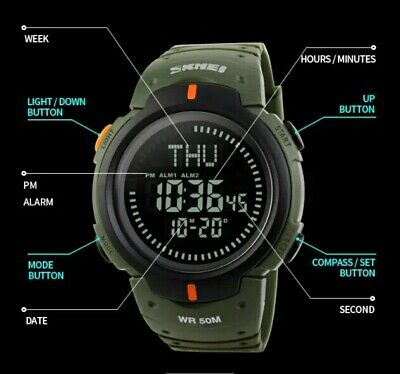 Men Compass Watch Countdown LED Digital Wrist Watches Outdoor Military 2 colors