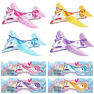 6 Mixed Kids Flying Unicorn Styrofoam Glider Planes Party Bag Favour Filler Toy