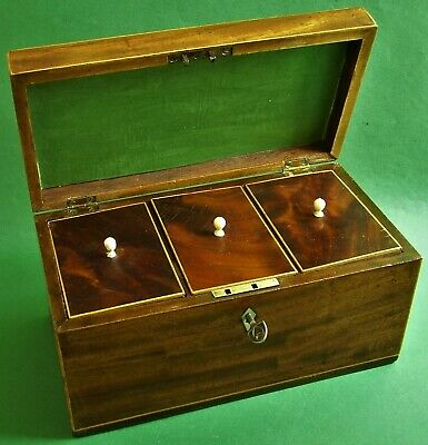 Orig. antike Mahagoni Tee-Dose Georgian um 1780 Tea Caddy Box Schatulle Schmuck