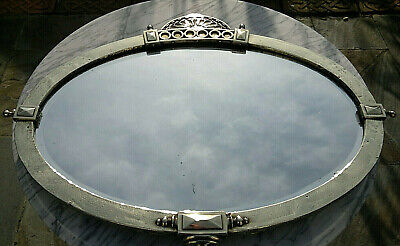 """Large Antique Arts & Crafts Brass Oval Wall Mirror Bevelled Glass 35"""" by 25.5"""""""