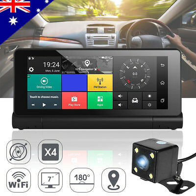 7'' Android Dual Camera Car Truck DVR WiFi bluetooth GPS Reversing Dash Recorder