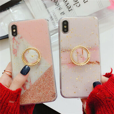 Luxury Bling marble Crystal Ring Holder Stand Kickstand soft Phone Case Cover