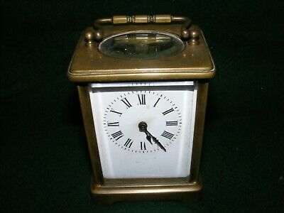 Antique Brass Carriage Clock Timepiece French France Glass Panels Repair