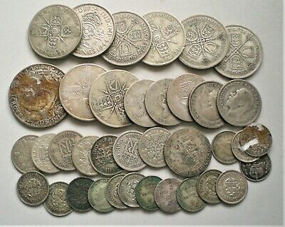 UK, Gathering of Pre 1947 silver coins, 176 grams  [C823]