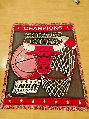 Vintage 1997 Nba Playoffs Chicaho Bulls Woven Tapestry Blanket Throw