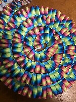 Rainbow Ribbon 25mm width PLEATED for rosettes crafts
