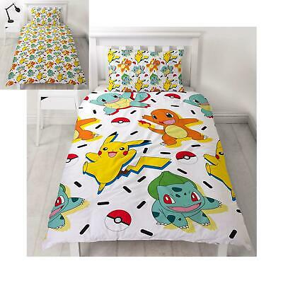Pokemon Memphis Set Housse de Couette Simple Réversible Literie Enfant