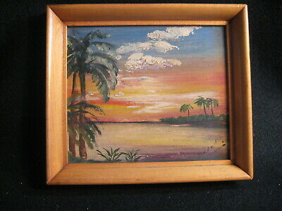 """Vintage Hand Painted Framed Tropical Paradise Scene """"Sinnell"""""""