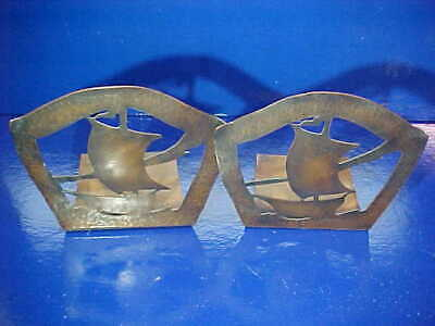 1920s ARTS + CRAFTS Hand Hammered COPPER SHIPS Figural BOOKENDS