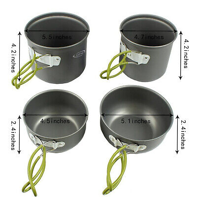 4Pack Camping Hiking Cook Cooking Cookware Set Anodised Aluminium Pots Pans