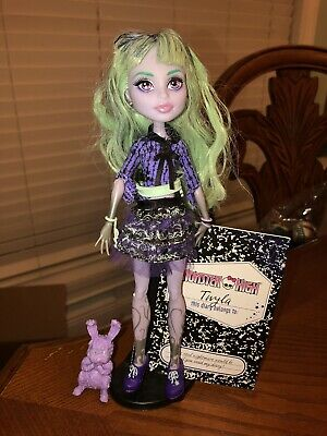 Monster High 13 Wishes Twyla Doll 1st Wave EUC Doll, Stand, Pet, Diary