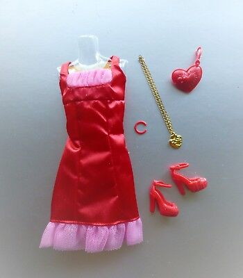 Barbie Fashion Red & Hot Pink Party Dress Hearts Necklace w/ Accessories