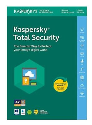 Kaspersky Total Security 2019 1ANNO 1PC/DISPOSITIVO Vers.Completa Email Digitale