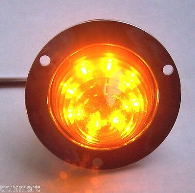 "LED light 8 diode 2"" amber beehive cone with chrome rim for Peterbilt Kenworth"