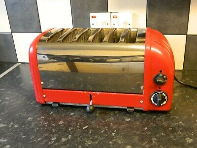 dualit 6 slice toaster in red and stainless steel finish