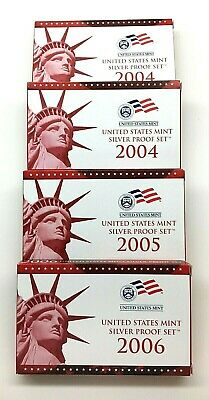 "4 - US Mint Silver Proof Sets (2) 2004, (1) 2005 & (1) 2006 W/ ""COA""    ""BU"""