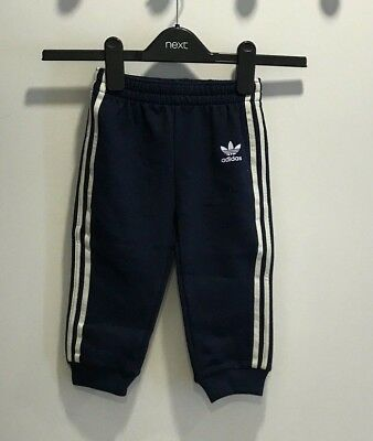BNWOT Adidas Navy White Striped Joggers Trousers 12 18 Months 85 CM
