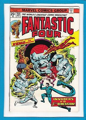 """FANTASTIC FOUR #158_MAY 1975_VF/NM_""""INVADERS OF THE 5th DIMENSION""""_BRONZE AGE!"""