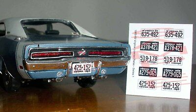 1965 - 1969 VIRGINIA miniature LICENSE PLATES for 1/25 scale MODEL CARS