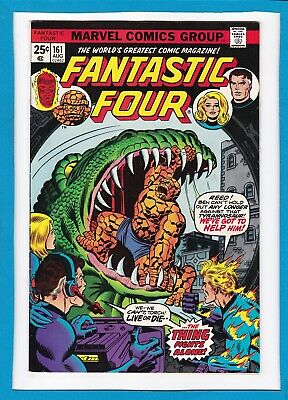 """Fantastic Four #161_August 1975_Very Fine+_""""the Thing Fights Alone""""_Bronze Age!"""