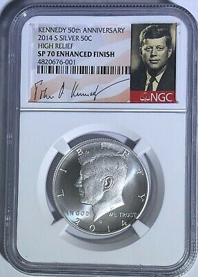 2014 S NGC SP70 SILVER ENHANCED KENNEDY HALF 50TH ANNIVERSARY SIGNATURE 50c