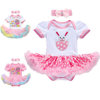 Baby Girl My First Easter Eggs Bunny Romper Tutu Dress Headband Party Outfit Set