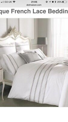 Holly Willoughby Antique French Lace King Bedding Set Duvet Pair Of pillowcases