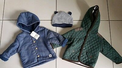 Baby Boy Bundle Coats Next & Mothercare And Hat Size 3-6mths