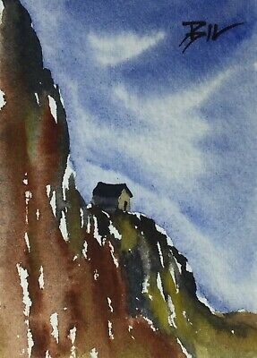 ACEO ATC original art miniature painting by Bill Lupton - House on a Cliff