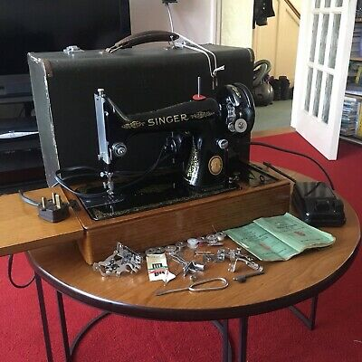 Antique 1902 Electric Singer Sewing Machine SERVICED FULLY WORKING + Extras