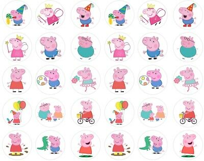 30 x Peppa Pig Cupcake Toppers Edible Icing PRE-CUT to 3.5cm Birthday Cake