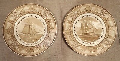 """2 Wedgwood UNION PRESIDENT American Sailing Ships 10"""" Brown Dinner Plates"""
