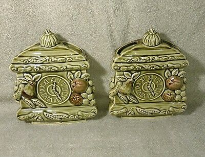 Vintage 2 Tilso Mid Century Avocado Green Clock Wall Pockets with Fruit