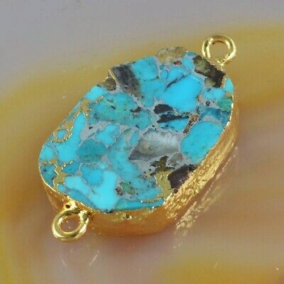 Blue Copper Turquoise Connector Gold Plated H131018