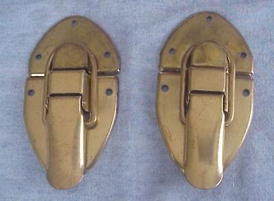 2 Vintage Unused Trunk Latches-Brass Plated Steel-Trunk Hardware