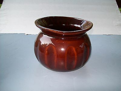 VINTAGE AMERICAN BISQUE Brown Spittoon Flower Pot ART POTTERY