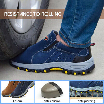 AU Men's Safety Steel Toe Slip On Work Leather Breathable Loafers Casual Shoes