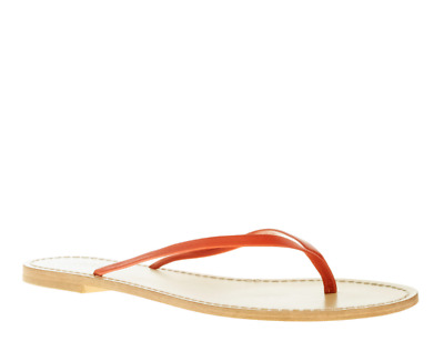 5c06ef5c9ae70 J.CREW NWOB  50 Patent Leather Capri Sandals Flip Flops Orange Poppy Red  Size 8