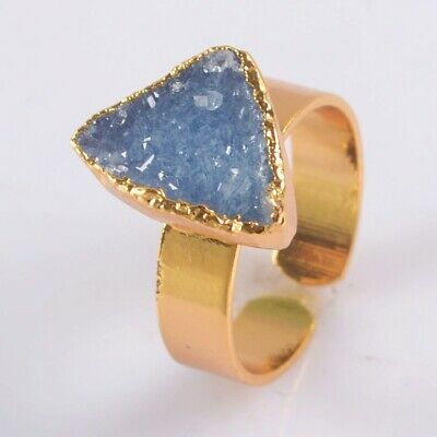 Size 7.5 Blue Agate Druzy Geode Adjustable Ring Gold Plated T075365